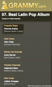 "Álbum ""Poquita Ropa"" de Ricardo Arjona nominado al Grammy"