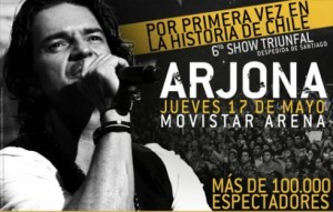 Ricardo Arjona suma sexta presentación en Chile
