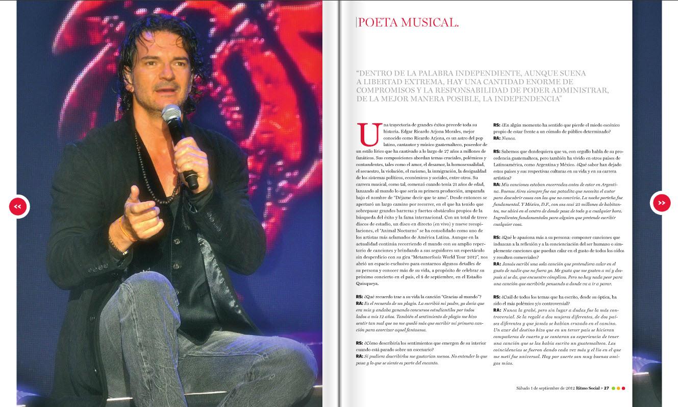Ricardo Arjona Entrevista Exclusiva Revista Ritmo Social
