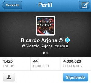 Ricardo Arjona con más de 4 millones de Followers en Twitter