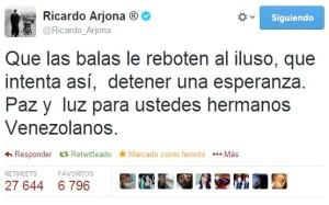 Ricardo Arjona expresa su apoyo a Venezuela