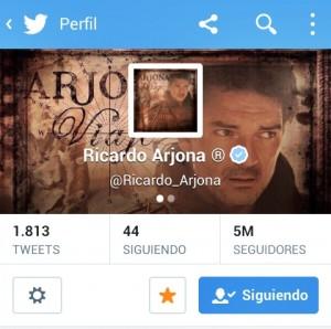 Ricardo Arjona con más de 5 millones de followers en Twitter