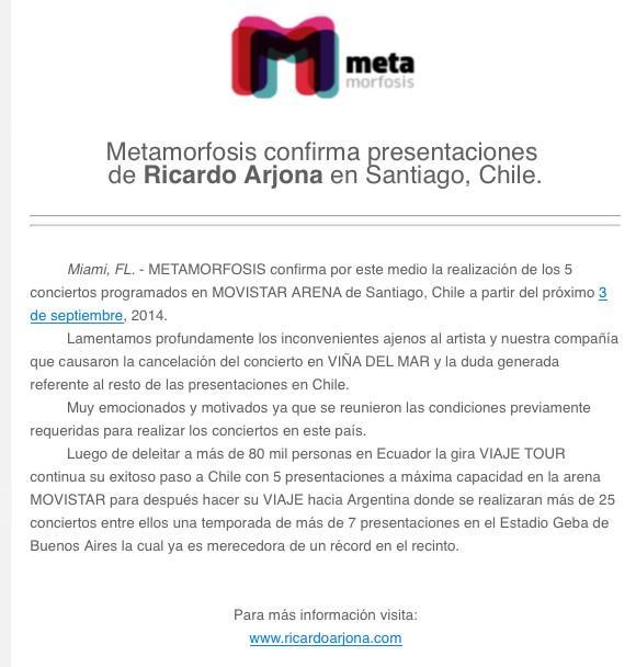 Comunicado Movistar Arena Ricardo Arjona