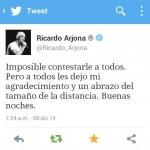Ricardo Arjona: les dejo mi agradecimiento y un abrazo del tamaño de la distancia.