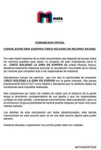 """Se cancela gira """"Circo Soledad"""" en Europa"""